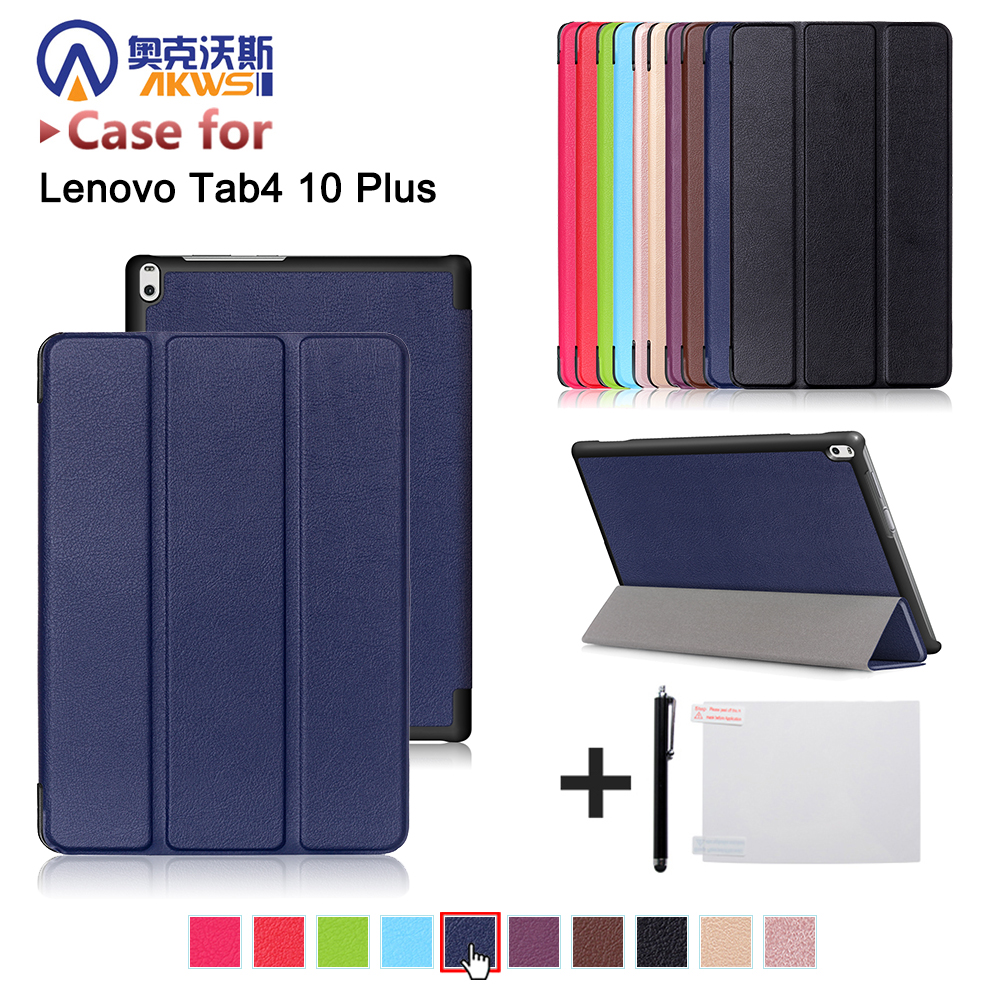 Folio Stand Leather Case For Lenovo TAB 4 10 Plus TB-X704N TB-X704F TB-X704L Tablet 2017 Protective Cover Skin Case+ Gift