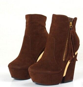 938f7a1c607f3 Mujeres tobillo plataformas Botas de moda borla marrón tacones cuadrados  Botas para Mujer de invierno de talla grande obra de Botas de tacón alto  Botas ...