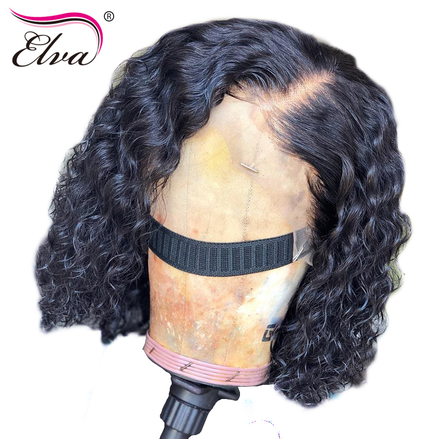13x4 Short Bob Wigs Peruvian Lace Front Human Hair Wigs For Black Women 100% Remy Hair Curly Lace Front Wig With Baby Hair Elva(China)