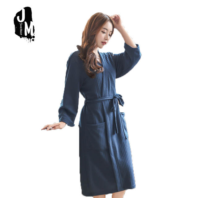 aea2b39110 Summer Dress waffle robes Man Woman cotton Bathrobe Towel Nightgown Women s  Pajamas Sexy Quick Drying Lovers. placeholder ...