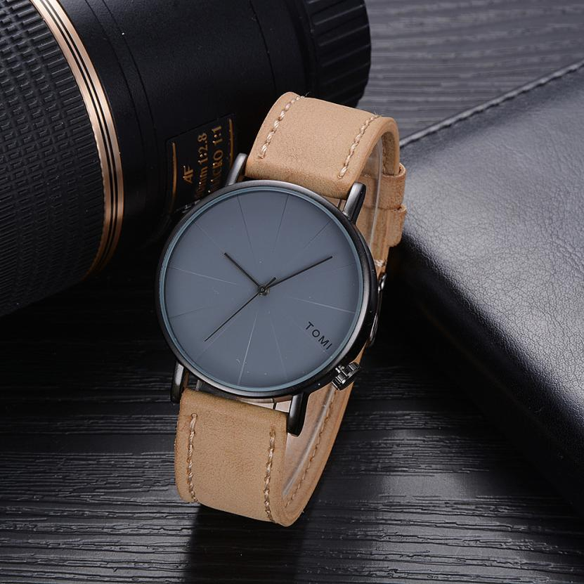 TOMI Fashion Casual Men 's Bussines Retro Design Leather Round Band Watch Watch Men Erkek Kol Saati Relogio Masculino gaiety men s casual stripe dial leather band dress watch g538
