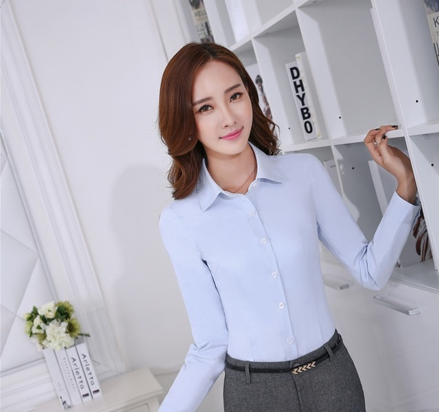 03f35adbad17 € 15.62 20% de DESCUENTO|Nueva y elegante de manga larga azul 2019  primavera otoño uniforme estilos Mujer Tops Blusas camisas mujeres ropa  Blusas ...