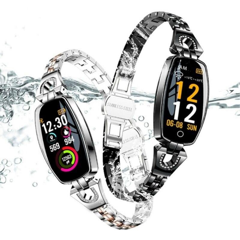 H8 dames HD couleur écran intelligent bracelet en métal sangle sport sommeil montre Fitness Tracker électronique santé bracelet montre intelligente