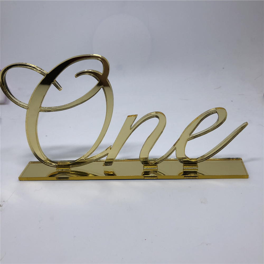 Gold Wedding Table Numbers: Mirror Gold Table Numbers , Wedding Table Decor, Acrylic