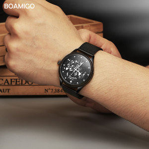 Image 3 - BOAMIGO מותג גברים קוורץ שעון אופנה שלד זכר שחור Milane רשת פלדה בנד אוטומטי תאריך שעוני יד שעון relogio masculino