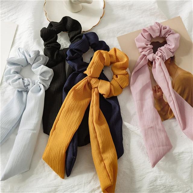 2019 Summer New Fashion Sweet Scrunchie Women Ribbon Elastic Hair Band Bow Scarf Hair Rubber Hair Ropes Girls Hair Accessories