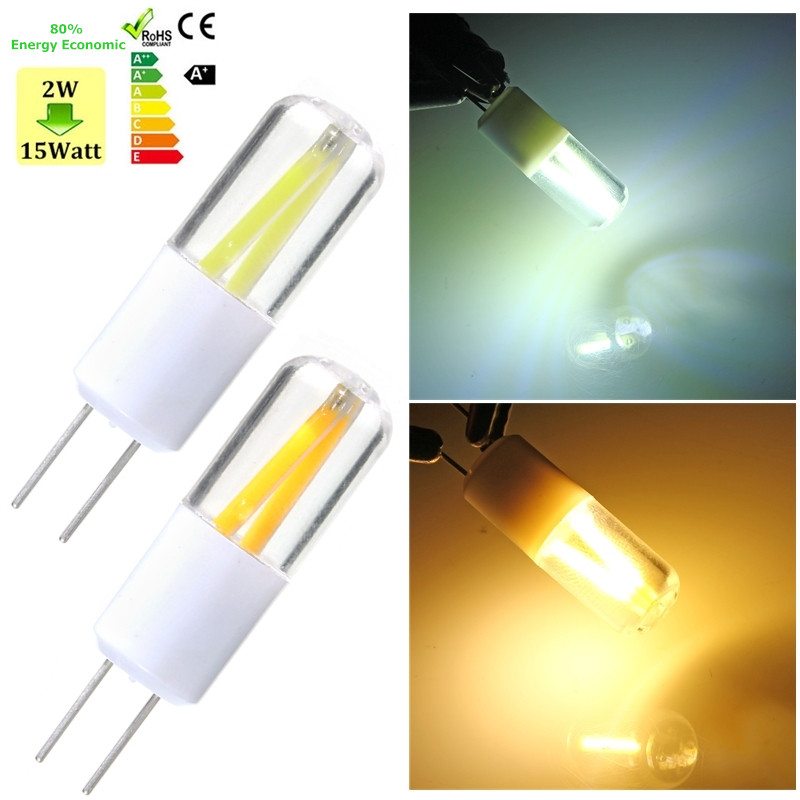 2 LED Light Bulb G4 COB 1.5W Filament Light Bulb Spotlight Car Boat Lamp Lighting Fixture Warm White Pure White 150LM AC/DC12V