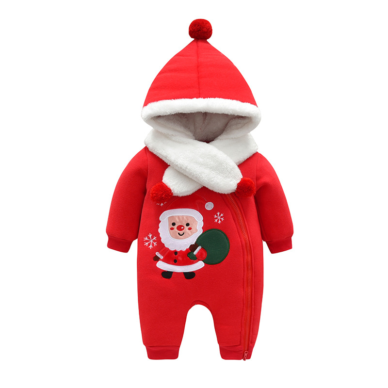 Kids Christmas costume Santa Claus style 90% Cotton Thicken lining velvet baby winter clothes 1-2 years rompers lovely outerwear hooded santa claus costume