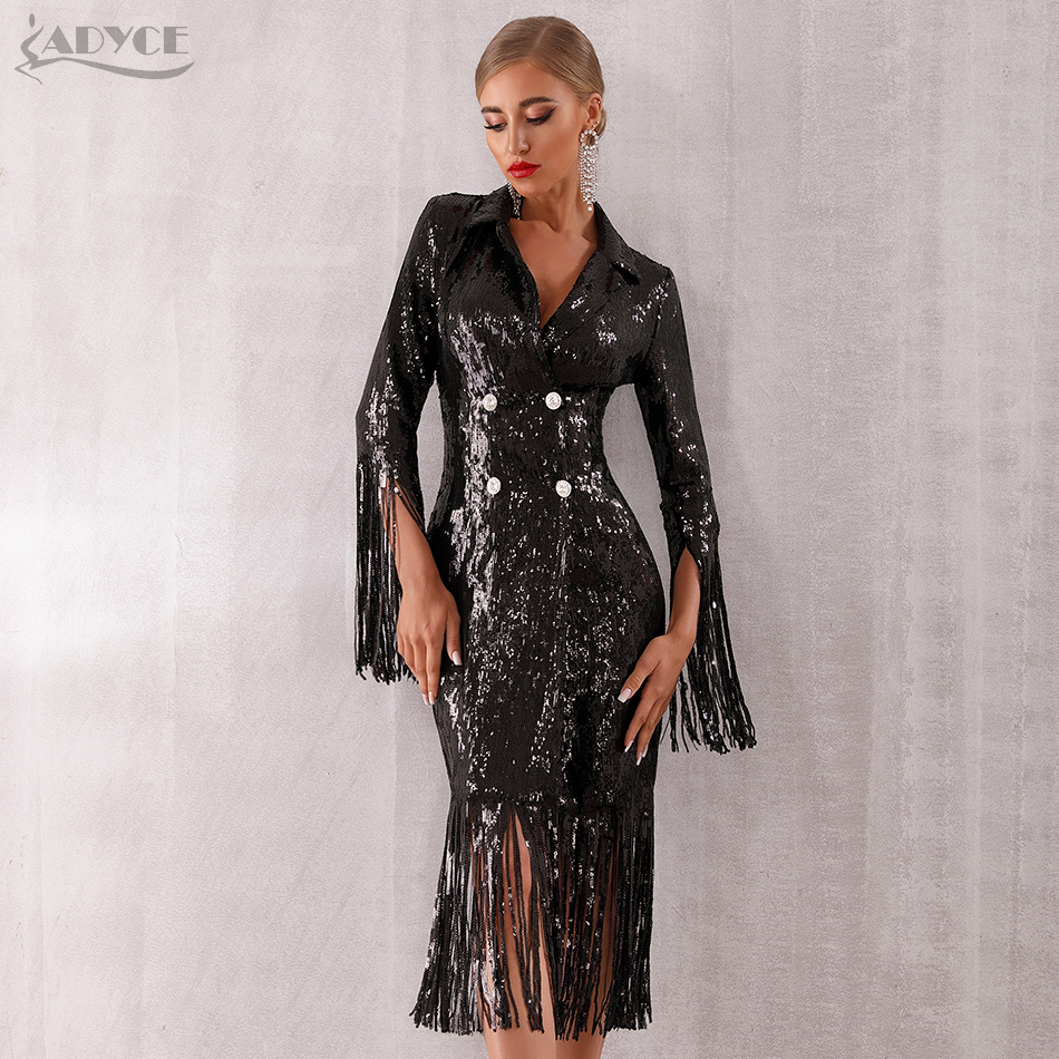 Adyce 2019 New Summer Women Sequined Luxury Evening Party Dress Vestidos Sexy Black Long Sleeve Tassels