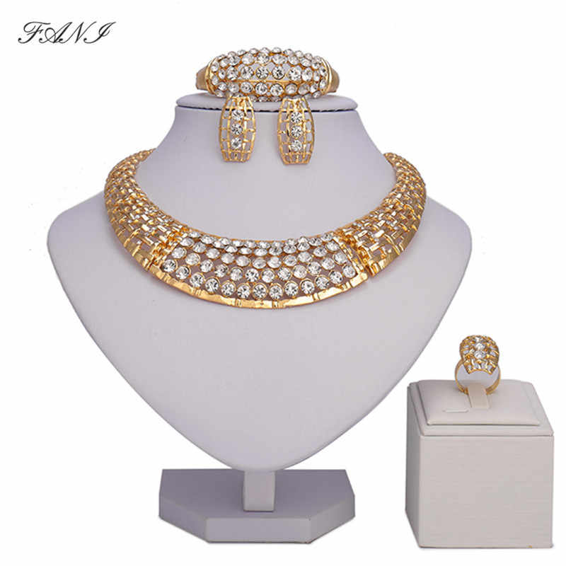 2018 Nigerian Wedding woman accessories jewelry set Fashion African Bead Jewelry Set Brand Dubai Big Gold Color Jewelry Set