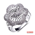 Women's See Through Hollow Flower Design Cocktail Rings Rhodium & Gold White Contrast Color Cubic Zirconia Pave Setting