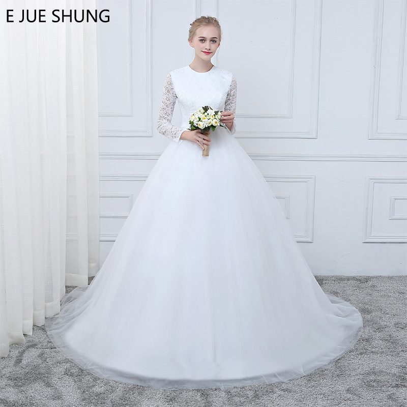 E JUE SHUNG White Vintage Lace Long Sleeves Cheap Wedding Dresses A line Wedding Gowns robe