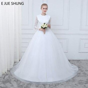 1e90c2fbb E جويه shung الأبيض خمر الدانتيل طويلة الأكمام رخيصة فساتين الزفاف ألف خط  أثواب الزفاف رداء