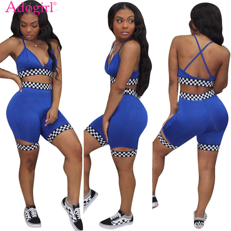 Adogirl Women Two Piece Set Outfit Checkerboard Plaid Race Suit Bra Top and Shorts Female Tracksuit Summer Club Suits Sportswear