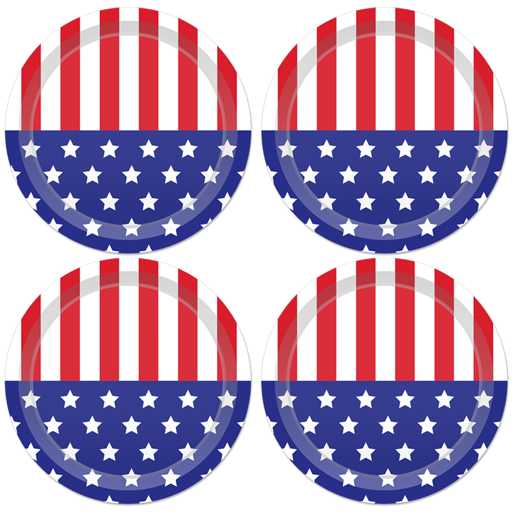 24pcs 9inch July 4th Party Favors American Flag Design Disposable Plates Tableware United State National Day Party Decorations