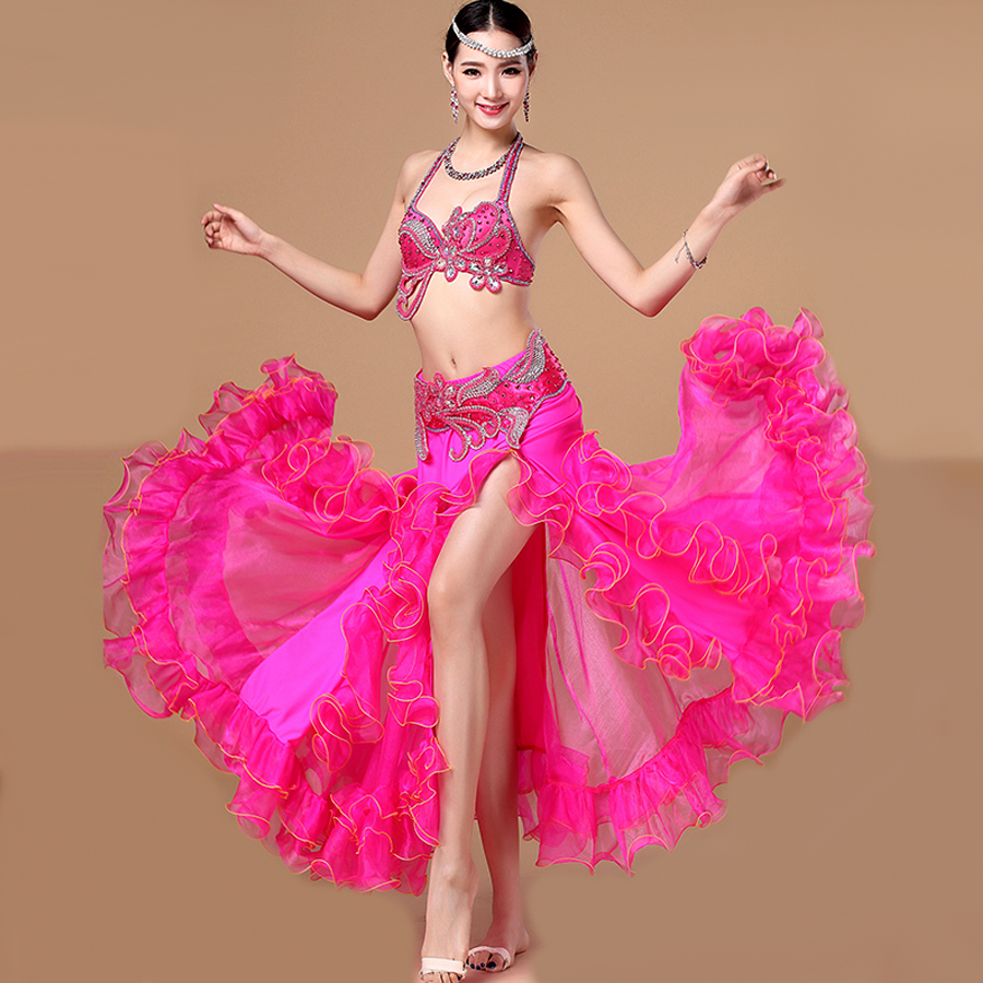 Original Women Belly Dance Costume White Red Rose Skirt+Bra Set Ladies Professional Perform Indian Vintage Feminine Suits Q3042