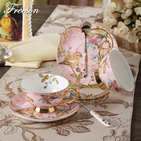 Europe Pastoral Bird Bone China Coffee Cup Advanced Porcelain Tea Cup And Saucer Set 200ml Mug