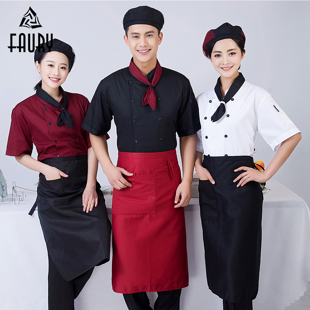 High Quality Chef Jacket Women Men Short-sleeve Double Breasted Chef Uniforms With Tie Kitchen Bakery Hotel  Workwear Uniform