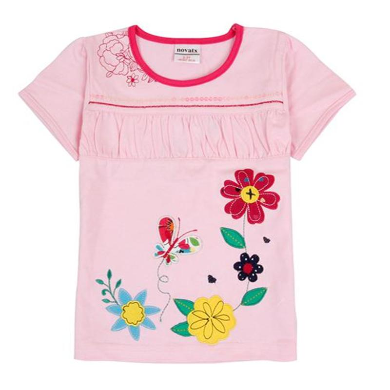NOVA Lovely Girls Summer t-shirts O-neck Cotton Short Sleeve Child girls clothes Lolita Style Free shipping Kids clothes