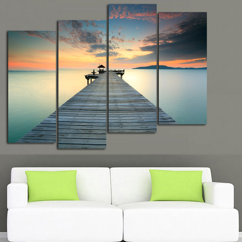 seaside pier raft road Landscape beach children living room kids Decoration Canvas Painting art pictures home decor unframed