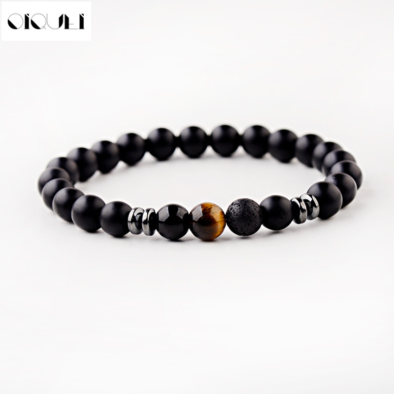 OIQUEI 2019 8mm Natural Matte Stone Beads Strand Bracelets Men Classic Black Stretch Yoga Jewelry Bracelet Hommes Mens Jewellery