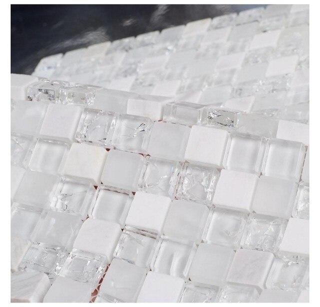 Pierre blanche mixte glace craquelé clair verre mosaïque salle de ...