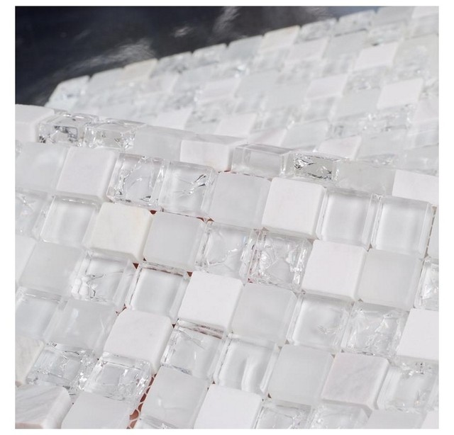 Pietra Bianca Misto Crackle Del Ghiaccio Chiaro Mosaico Di Vetro Tessere Di Mosaico  Bagno La Cucina