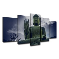 5 Panels Wall Pictures Home Decoration Large Buddha Portrait Abstract Photo Wall Modular Pictures