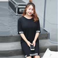 New Fashion Summer Style Letters Printed Long Sleeved Women S Casual Dress Women Plus Size Vestidos