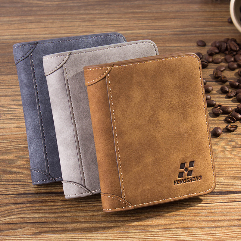 HENGSHENG HOT High Quality Men Wallets Vintage PU Nubuck Skin Short Purse Luxury Famous Brand Men's Three Folds Wallet For Man
