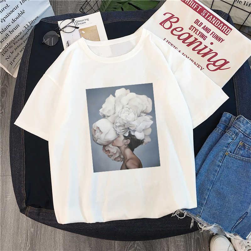 Новый Harajuku Эстетическая футболка сексуальные цветы перо печати короткий рукав футболки летняя мода kawaii Повседневная Милая женская футболка