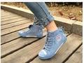 Женщины улыбка удобные повседневная обувь 2016 высокие топ цвет блока моды шнуровкой холст обувь