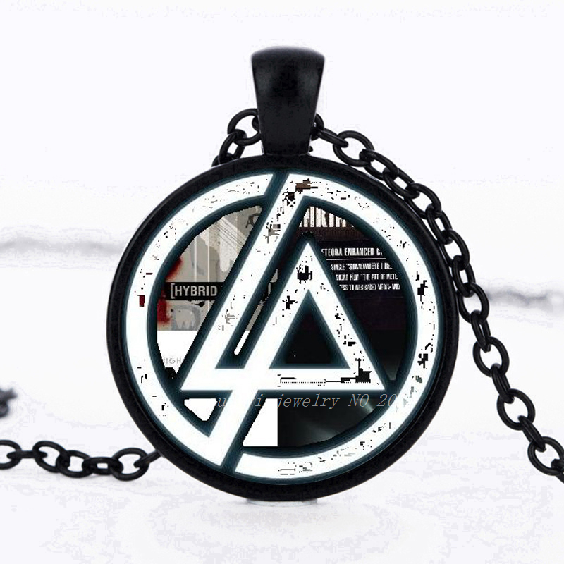 2017 Hot Fashion Linkin Park logo Pendant Linkin Park Jewelry Glass Necklace Dome Pendant Men and children party gifts
