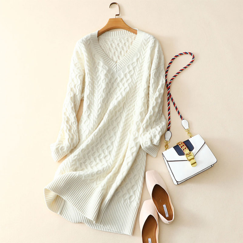 Newest Snow White Dress 100 Pure Cashmere Casual Knitted Winter Dress Thick High end V neck Long Sleeves Women Winter Dress 2018