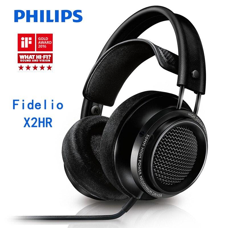 Originale Philips Fidelio X2HR Wired Cuffia HIFI suono auricolari Multi-unità di azionamento a membrana di alta qualità auricolari per telefoni