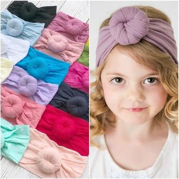 Diadema de bebé 2018 niñas turbante de Nylon diademas para niños Boutique bandas de pelo de nailon 20 colores Bebes accesorios para el cabello D0982