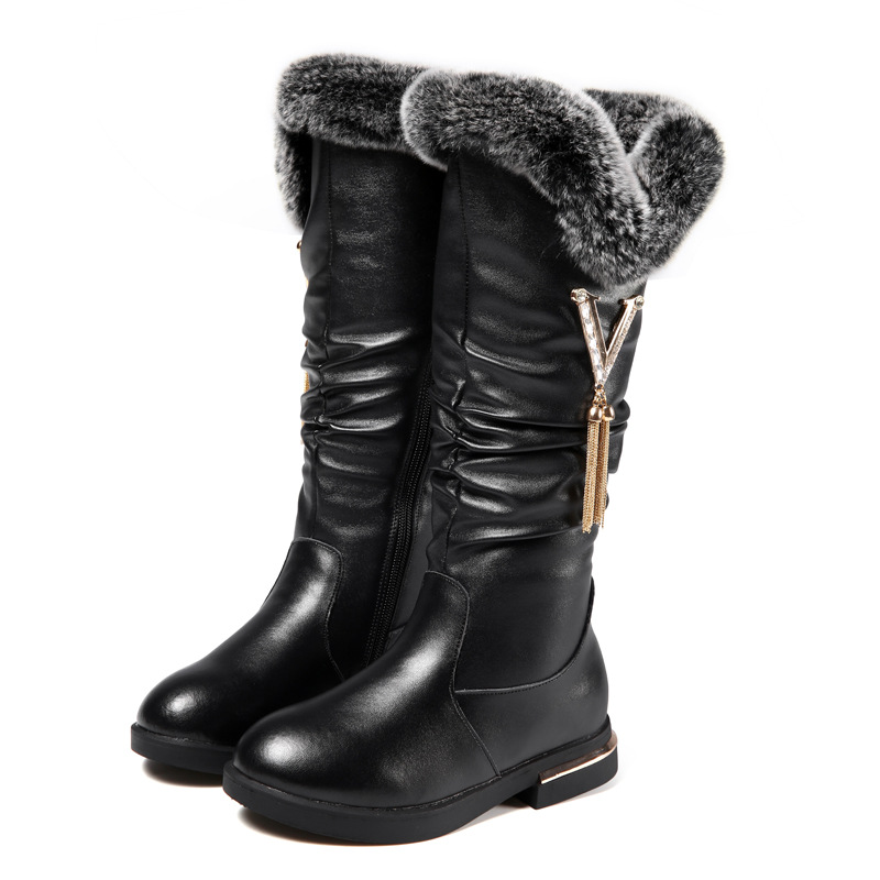 Cowhide Childrens Boots 2018 Winter New Girls Boots Fashion Plush Warm Snow Boots Rabbit Comfortable Fur Kids Shoes KS357Cowhide Childrens Boots 2018 Winter New Girls Boots Fashion Plush Warm Snow Boots Rabbit Comfortable Fur Kids Shoes KS357