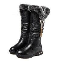 Cowhide Children's Boots 2018 Winter New Girls Boots Fashion Plush Warm Snow Boots Rabbit Comfortable Fur Kids Shoes KS357