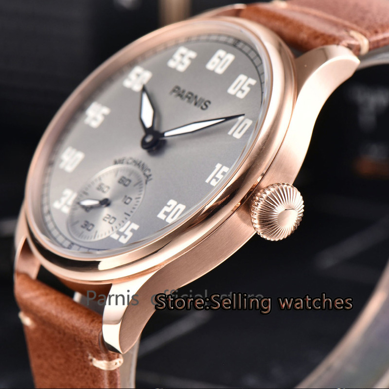 44mm PARNIS gray dial rose golden case asian 6498 Mechanical Hand Wind movement mens watch Mechanical watches44mm PARNIS gray dial rose golden case asian 6498 Mechanical Hand Wind movement mens watch Mechanical watches