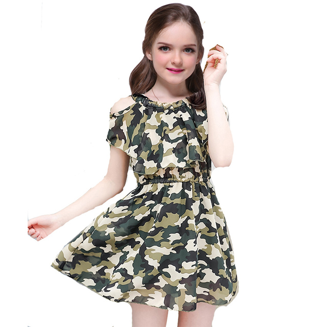 01ae47481b5b Camo Dresses for Girls Summer Casual Military Print Dresses Baby ...
