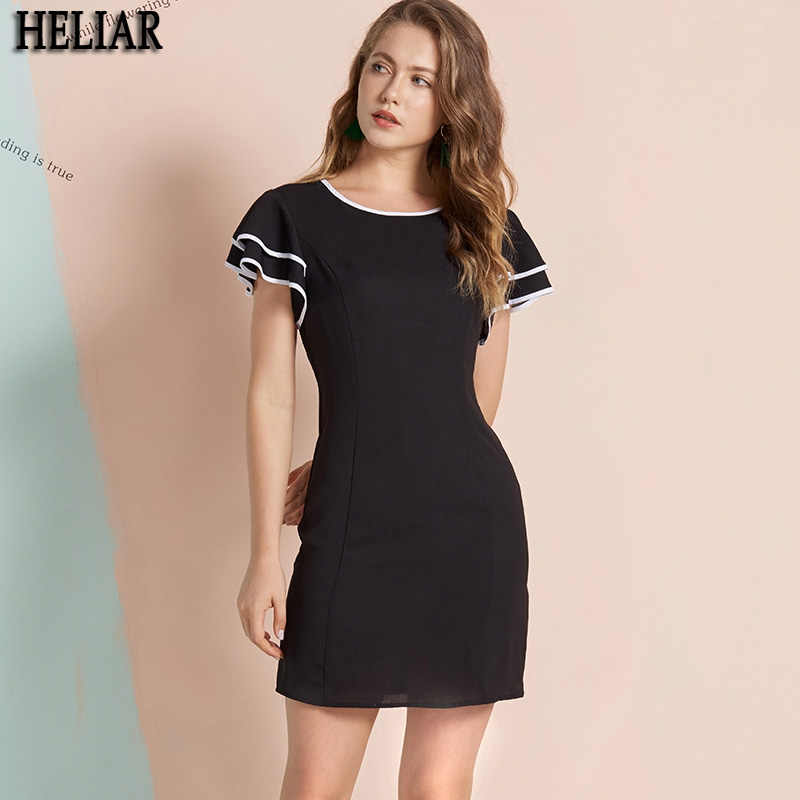 HELIAR Elegant Black Sexy Mini Dress for Women 2019 Summer Short Sleeve O Neck Solid Vintage Office Lady Bodycon Dresses
