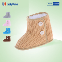 Baby first walkers with warm plush and knitting style infant baby shoes Size 18-20 NO. 3120
