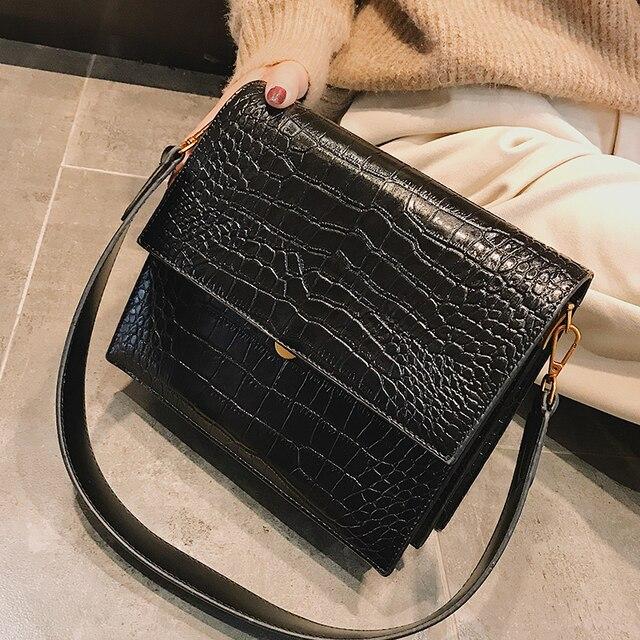 European Fashion Simple Women's Designer Handbag 2018 New Quality PU Leather Women Tote bag Alligator Shoulder Crossbody Bags 1