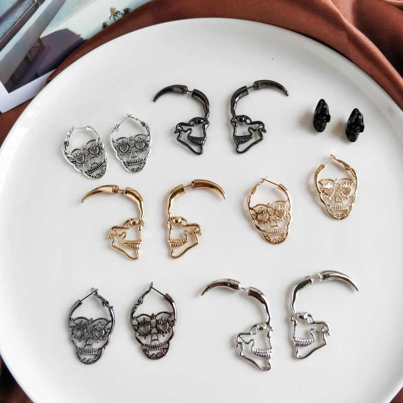 Desain Baru Perak Warna Hitam Tengkorak Stud Anting-Anting untuk Wanita Pria Gaya Rock Punk Skeleton Telinga Perhiasan Hadiah