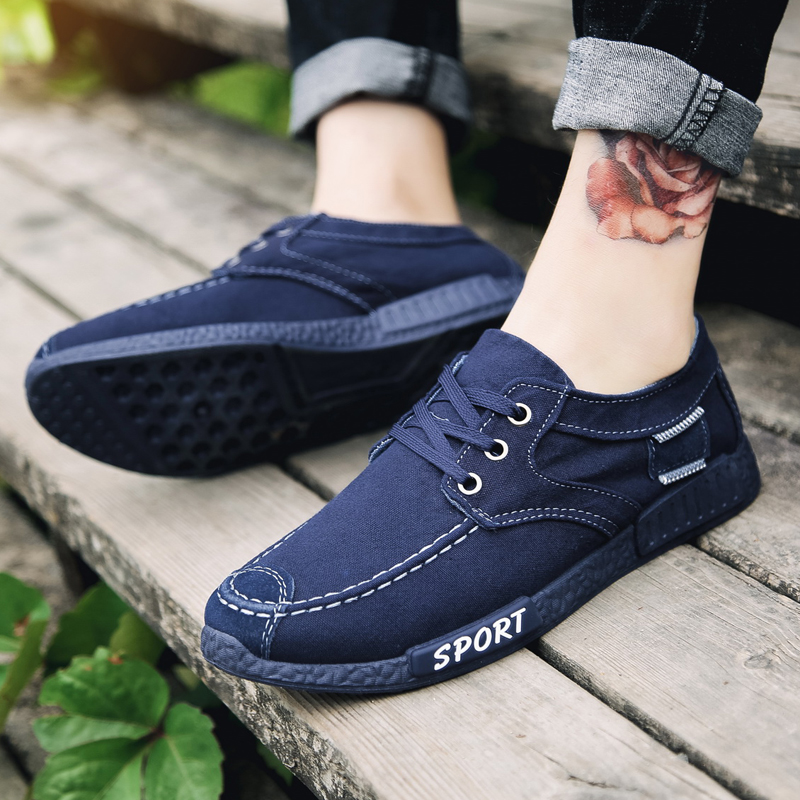 YeddaMavis Men Canvas Shoes Men Shoes Sneakers Denim Lace Up Flats Casual Shoes New 2019 Spring Autumn Breathable Male Footwear in Men 39 s Casual Shoes from Shoes