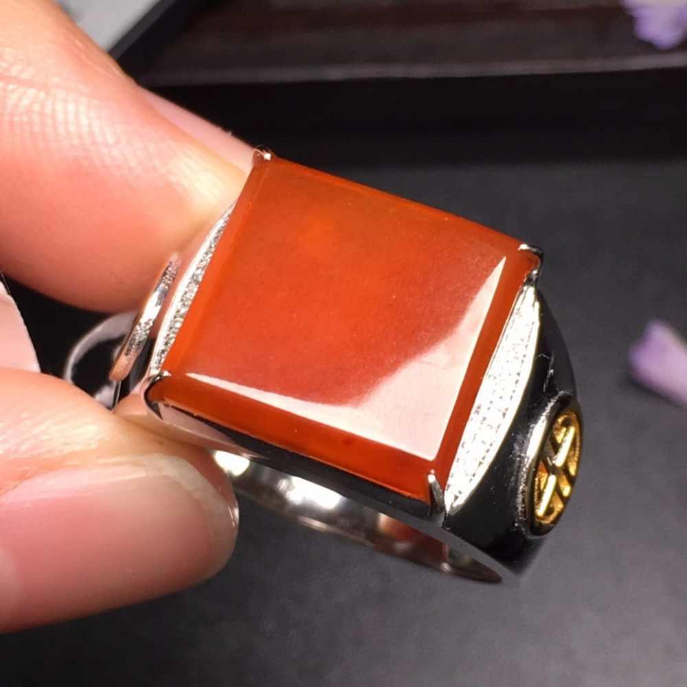 505 แท้บริสุทธิ์ 18 K สีขาวทอง AU750 สีแดงธรรมชาติ 100% Jadi หยกรอบแหวนพม่าแหล่งกำเนิดสินค้าสำหรับผู้หญิงของขวัญ