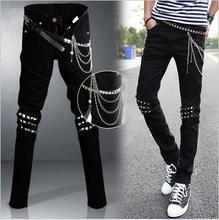 Оптовая продажа 2016 новинка мужской черный мальчик брюки-карго заклепки тонкий хип-хоп байкер черный карандаш брюки мальчиков джинсы мужские джинсы брюки