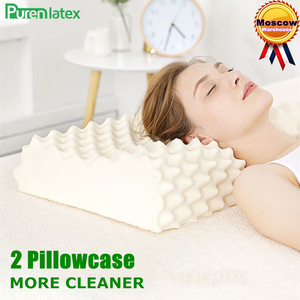 Image 1 - PurenLatex 60x38 Thailand Pure Natural Latex Orthopedic Pillow Neck Cervical Protective Spine Massage Remedial Body Pillows
