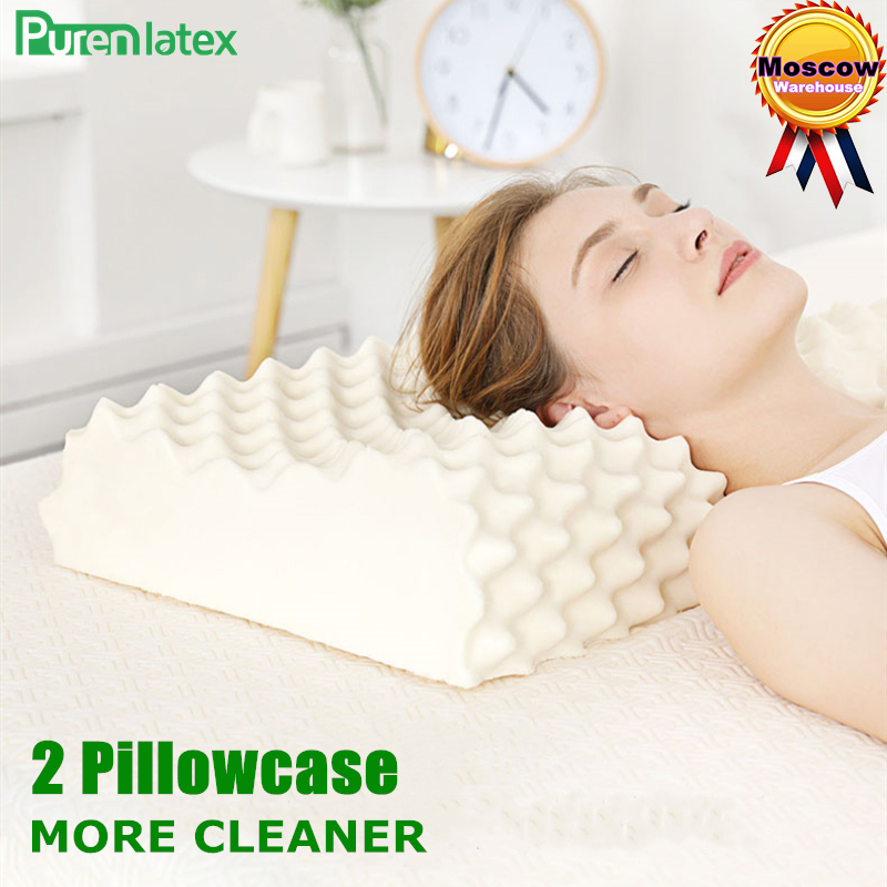 PurenLatex 60x38 Thailand Pure Natural Latex Orthopedic Pillow Neck Cervical Protective Spine Massage Remedial Body Pillows