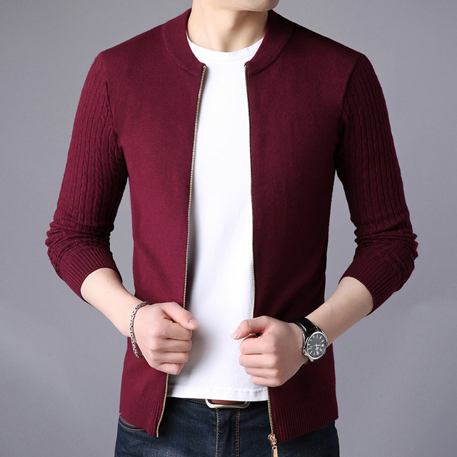 Cardigan Solid Stand Collar Zipper Men's Sweater  2